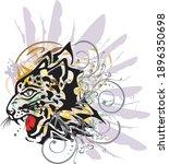 grunge leopard head symbol with ... | Shutterstock .eps vector #1896350698