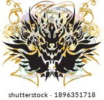 grunge predator head on a white ... | Shutterstock .eps vector #1896351718