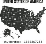 map of states borders of usa or ... | Shutterstock .eps vector #1896367255