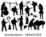 musicians silhouettes | Shutterstock .eps vector #189637205