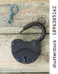 Opened Old Rusty Lock With Key. ...