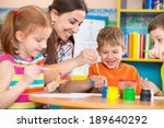 cute little children drawing...   Shutterstock . vector #189640292