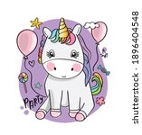 cute baby unicorn with balloons ... | Shutterstock .eps vector #1896404548