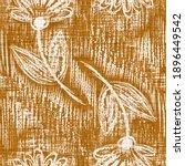 Watercolor Orange Flower Motif...