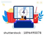 young couple watching tv on a...   Shutterstock .eps vector #1896490078