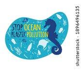 stop ocean plastic pollution.... | Shutterstock .eps vector #1896496135