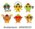 hipster owl in different poses... | Shutterstock . vector #189650315
