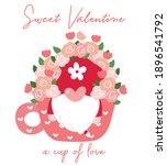 cute valentine gnome in coffee...   Shutterstock .eps vector #1896541792