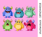 set of cute monsters character...   Shutterstock .eps vector #1896544018