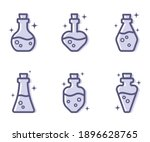 six purple potion icons. bottle ... | Shutterstock .eps vector #1896628765