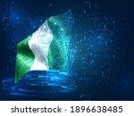 nigeria  vector 3d flag on blue ...   Shutterstock .eps vector #1896638485