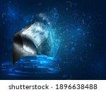 vector 3d flag on blue...   Shutterstock .eps vector #1896638488