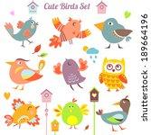 set of 9 cute birds in vector.... | Shutterstock .eps vector #189664196