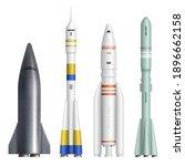 realistic rocket. spaceships... | Shutterstock .eps vector #1896662158