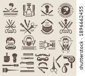 barber shop badges. scissors... | Shutterstock .eps vector #1896662455