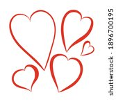 contour silhouette red heart ... | Shutterstock .eps vector #1896700195