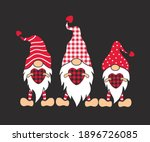 three valentines gnomes with... | Shutterstock .eps vector #1896726085