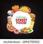 fast food round banner vector... | Shutterstock .eps vector #1896750502