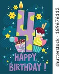 fourth year happy birthday... | Shutterstock .eps vector #189676112