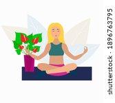 woman doing yoga pose on mat.... | Shutterstock .eps vector #1896763795