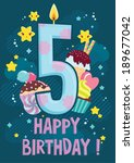 fifth year happy birthday... | Shutterstock .eps vector #189677042