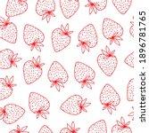 hand drawn strawberry outline...   Shutterstock .eps vector #1896781765