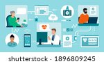 patients connecting online with ... | Shutterstock .eps vector #1896809245