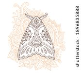 moth decorated with indian... | Shutterstock .eps vector #1896835888