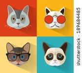 animal portrait set with flat... | Shutterstock .eps vector #189684485