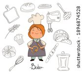 child chef baker and baking... | Shutterstock .eps vector #1896874528