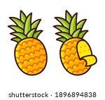 cartoon pineapple drawing ... | Shutterstock .eps vector #1896894838