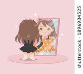 cute girl standing in front of... | Shutterstock .eps vector #1896934525