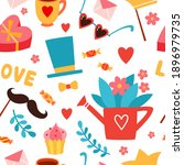 romantic seamless pattern with... | Shutterstock .eps vector #1896979735