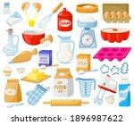 cartoon baking ingredients.... | Shutterstock .eps vector #1896987622