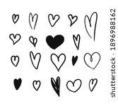 heart black flat cartoon icon... | Shutterstock .eps vector #1896988162