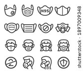 medical mask thin line icon set ... | Shutterstock .eps vector #1897009348
