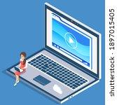 video tutorial concept.... | Shutterstock .eps vector #1897015405