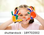 portrait of a cute cheerful... | Shutterstock . vector #189702002