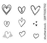 set of unique hand drawn hearts.... | Shutterstock .eps vector #1897030702