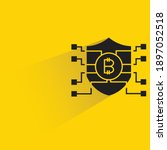 bitcoin shield with drop shadow ... | Shutterstock .eps vector #1897052518