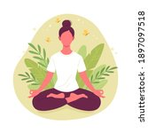 meditating woman. vector... | Shutterstock .eps vector #1897097518