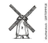 Hand Drawn Vintage Windmill....