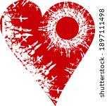 grunge red heart on a white... | Shutterstock .eps vector #1897111498
