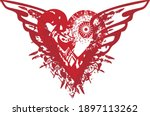 grunge winged red heart on the... | Shutterstock .eps vector #1897113262