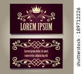 set of vintage empty dark plum... | Shutterstock .eps vector #189712226