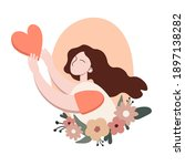 st valentines day card woman... | Shutterstock .eps vector #1897138282
