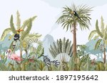 pattern with jungle animals ... | Shutterstock .eps vector #1897195642