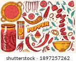 red hot chili peppers in... | Shutterstock .eps vector #1897257262