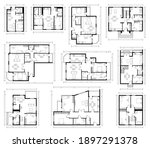 architecture design  blueprint... | Shutterstock .eps vector #1897291378