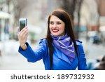 woman in blue cloak... | Shutterstock . vector #189732932